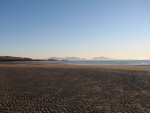 The hills of the Lleyn Peninsula across the water from Aberffraw.
