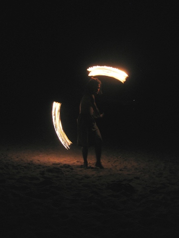 Fire poi on Chicken Island.