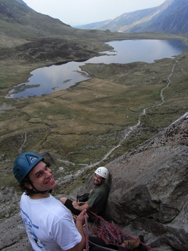 At the second belay of Charity with Llyn Idwal in the background.