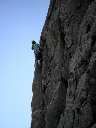 Unknown climber on Clogwyn Bochlwyd.