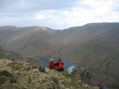Nicki and J looking over Kentmere.