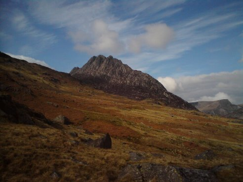 The east face of Tryfan with the north ridge in profile.