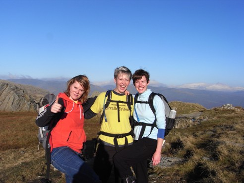 Pashley, Laura and Sarah on Pavey Ark.