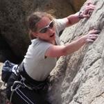 Dagmar on her rock climbing course.