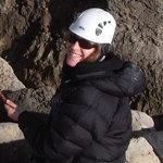 Karen on her rock climbing course.