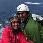 Shalini & Kabir on their rock climbing course.