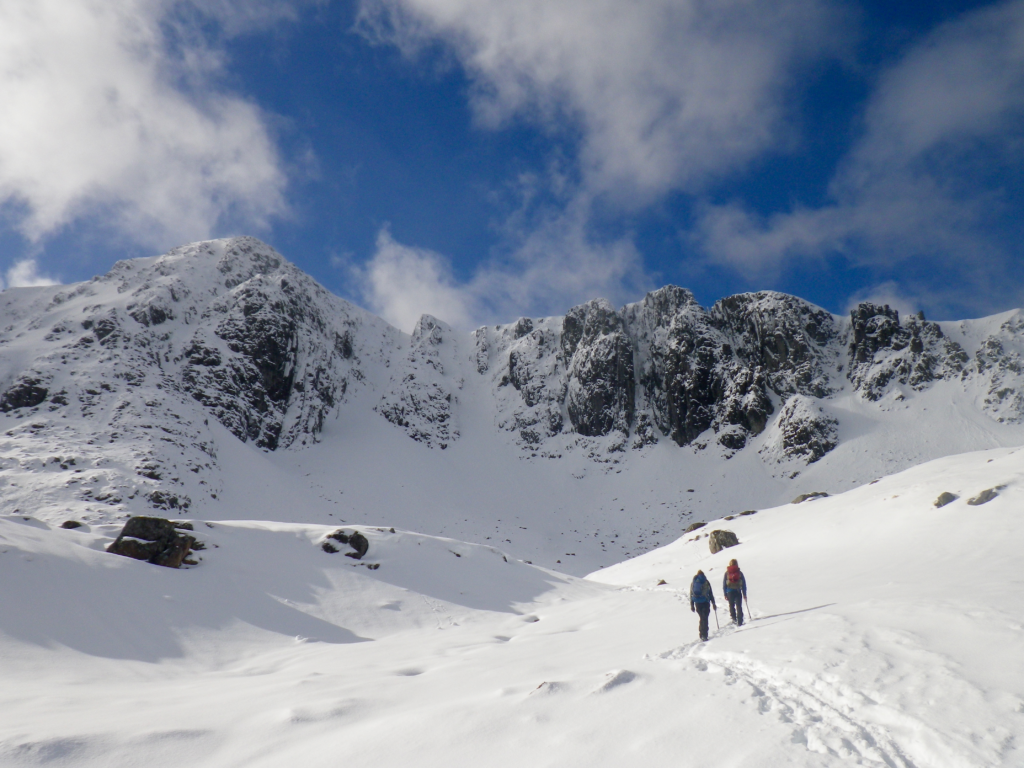 Winter mountaineering in snow