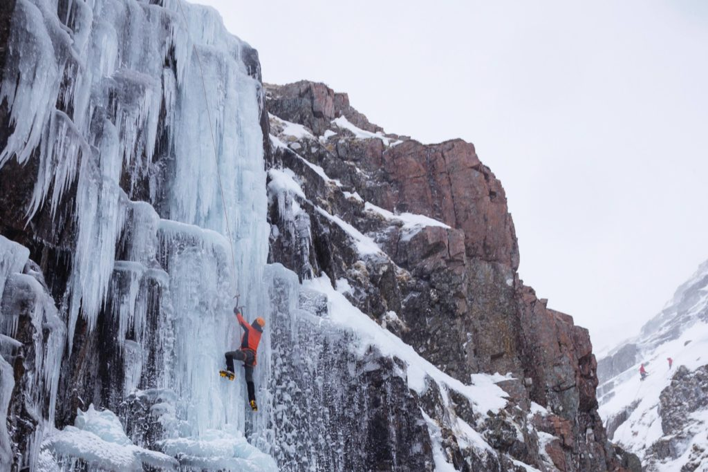 Ice climbing with ice axes, Tower Ridge, Ben Nevis, Scotland.