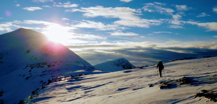 Winter mountain walkng on Buachaille Etive Mor, Glen Coe