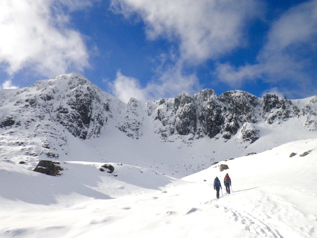 Winter mountain walking in snow, at Stob Coire nan Lochan, Glen Coe.